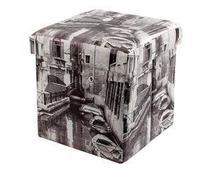 Pouf contenitore in ecopelle venice - 32x34x32 cm