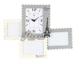 cornice portafoto multipla da parete in legno con orologio paris - 35x46 cm