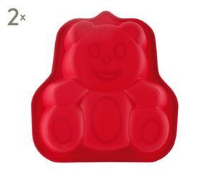 Set di 2 stampi in silicone per dolci bear rosso - 24x3x24 cm