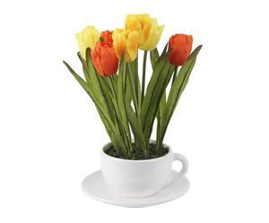 mazzo di tulipani in tazza - d 15/h 26 cm