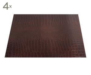 set di 4 sottomano da scrivania in ecopelle croco - 30x45 cm