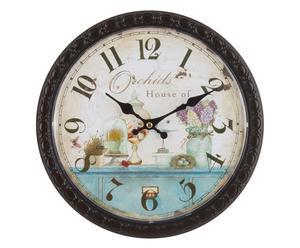 Orologio da parete in metallo Orchidea - 29x29x4 cm