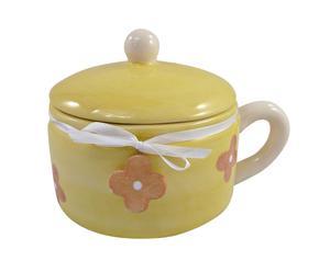 Tazza in ceramica con coperchio Summer Flower - 13x17x13 cm