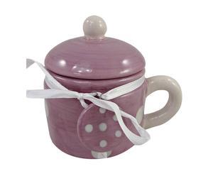 Tazza in ceramica con coperchio Pink Dot - 10x9x8 cm