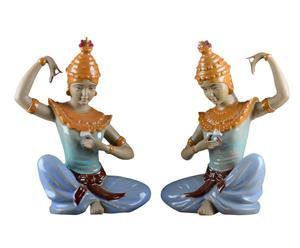 Set di 2 statuette in porcellana di donne giapponesi - 17x27x10 cm