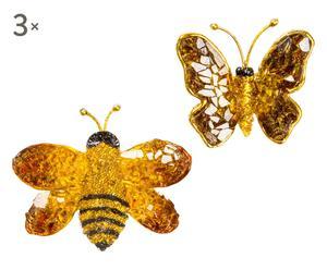 Set di 6 spille in cristallo e vetro farfalla&ape - 8x11 cm