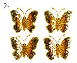 Set di 4 spille in cristallo e vetro Butterfly - 5x6 cm