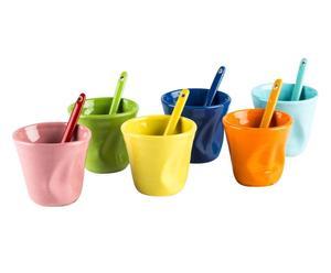 set di 6 bicchierini da caffe' in gres multicolor - 11 cl