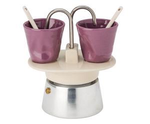 Caffettiera in alluminio e gres con 2 tazzine Elisa - lilla/bianco