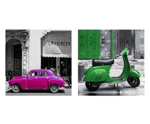 Set di 2 stampe su tela pop art Vespa e Auto - 40x40 cm