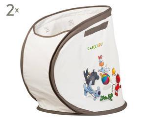 set di 2 contenitori portagiochi e biancheria cuccioli - 45x45x45 cm