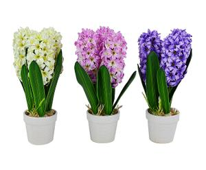 Set di 3 giacinti decorativi in vaso - D 15/H 33 cm