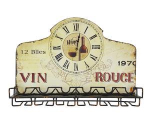 Mensola portabottiglie da parete in ferro con orologio Rouge - 64x25x45 cm