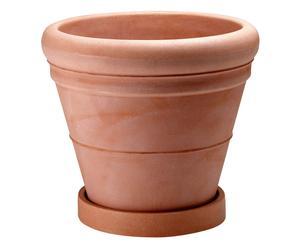 Vaso con sottovaso in polietilene anticato - 35x42 cm
