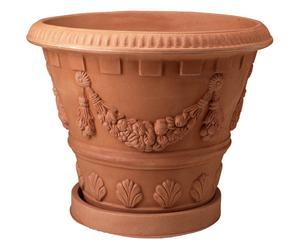 Vaso festonato con sottovaso in polietilene anticato - 43x54 cm
