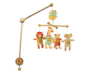 Carillon a sospensione in legno e cotone animals - 0 - 6 mesi