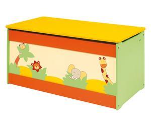 Baule per giocattoli in legno jungle - 80x40x40 cm