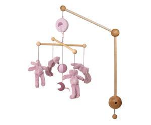 Carillon a sospensione in legno con peluches orsi e conigli rosa - 0 - 6 mesi