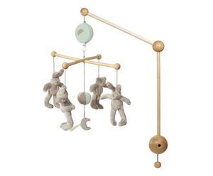 Carillon a sospensione in legno con peluches orsi e conigli grigio - 0 - 6 mesi