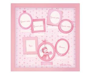 Cornice portafoto in legno a 6 spazi family rosa - 36x36 cm