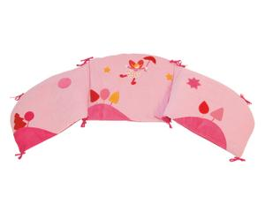 Paracolpi per culla in misto cotone happy rosa - 172x42 cm