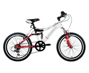 Bici MTB Full Suspension biammortizzata in acciaio 20'' - rosso/bianco