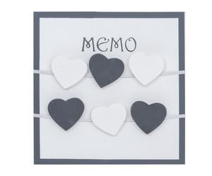 Lavagnetta magnetica da parete in legno con cuoricini memo - 30x30x3 cm