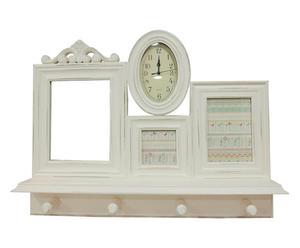 DECORazione DA PARETE con orologio crema - 65x50x10 cm