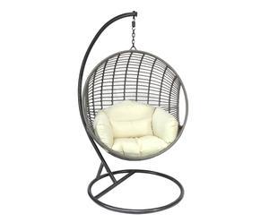 Poltrona a dondolo in rattan con cuscino Antea - 107x190x107 cm