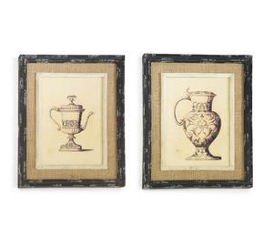 Set di 2 stampe in tela con cornice barocco - 43x53 cm