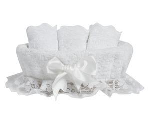 Set di 3 lavette + cestino in cotone buratto - bianco