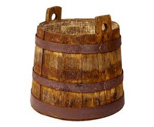 Mastello in legno e metallo anni 40 - 35x35 cm
