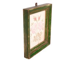 Arazzo con cornice in legno e motivo floreale - 26x30 cm