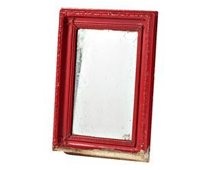 Specchio con cornice in legno rosso -