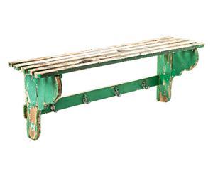 Mensola attaccapanni in legno verde anni 60 - 101x37x28 cm