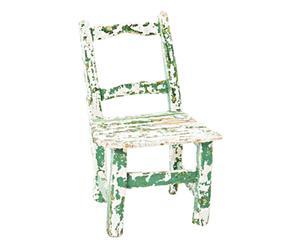 Sedia bambino in legno Irene bianca e verde p. unico - 27x43x22 cm