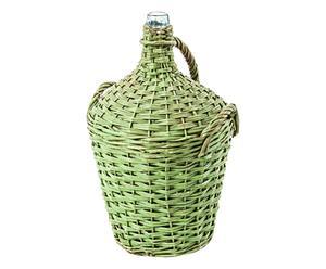 Fiasco in vetro impagliato Gianni verde p. unico - 38x57x38 cm