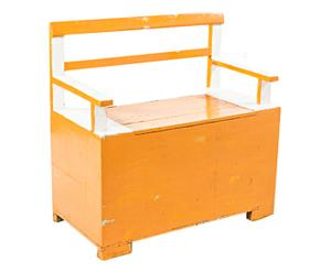 Cassapanca in legno Tina arancione p. unico - 80x79x41 cm