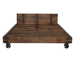 Struttura letto matrimoniale in legno con testiera e rotelle - 170x30x200 cm