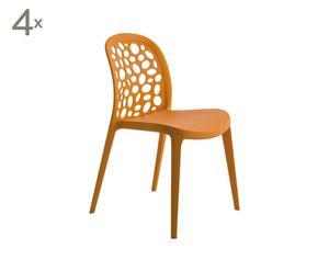 Set di 4 sedie per interno o esterno in polipropilene spirit arancione  - 83x40x45 cm