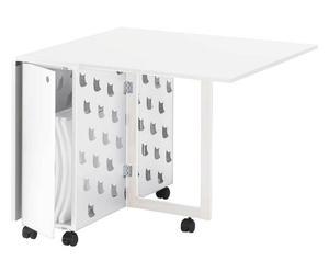 Tavolo estensibile e richiudibile in acciaio e melaminico Ginger bianco - 160x74x90 cm