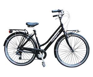 Bicicletta da donna con cambio a 6 velocita' CITY 28'' - nero lucido