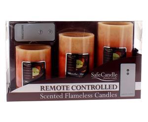 Set di 3 candele elettriche con telec. Mela&Cannella - max 7,5x20 cm