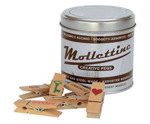 Scatola in latta con mollette in legno Mollettine