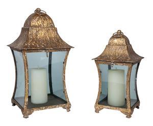 set di 2 lanterne in ferro Moses - max 23x43x23 cm