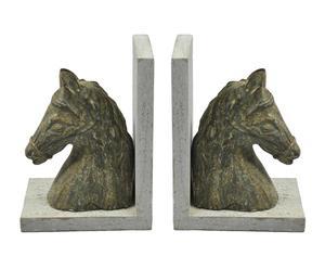 set di 2 fermalibro in legno horses - 31x21x11 cm