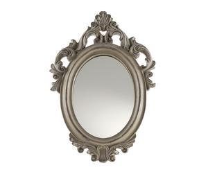Specchio ovale verticale con cornice in resina con rilievi grigio - 19x28x2 cm