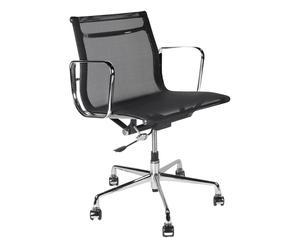 Sedia da ufficio in acciaio cromato Route nero - 58x87x62 cm