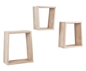 Set di 3 mensole in legno trapezio naturale - max 26x30x12 cm