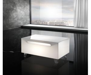 Tavolino luminoso con portariviste dandy bianco - 60x44x35 cm